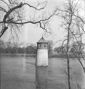 Stone tower in river - Shelby Park city pumping station