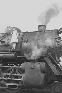 Nannie Mai 12 Yrs standing on engine at Radnor Yards